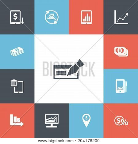 Set Of 13 Editable Finance Icons. Includes Symbols Such As Salary, Greenback, Exchange Center And More
