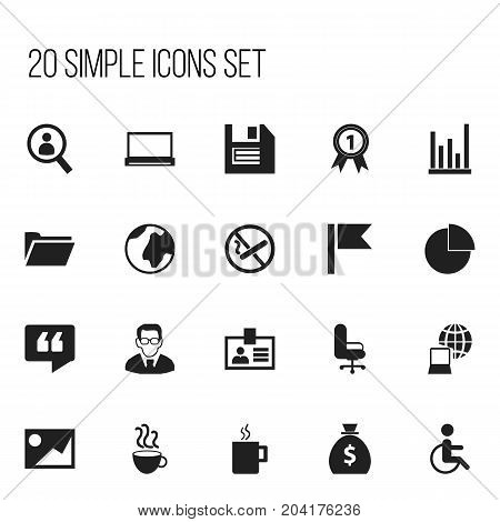 Set Of 20 Editable Office Icons. Includes Symbols Such As Handicapped, Line Chart, Circle Diagram