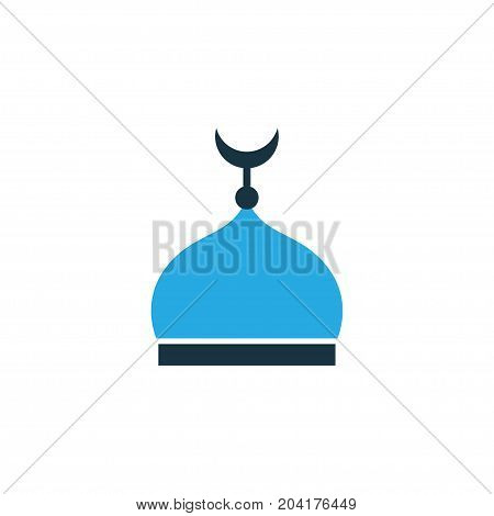 Premium Quality Isolated Mosque Element In Trendy Style.  Minaret Colorful Icon Symbol.
