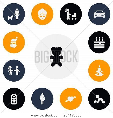 Set Of 13 Editable Family Icons. Includes Symbols Such As Madame, Automobile, Play With Vehicle And More