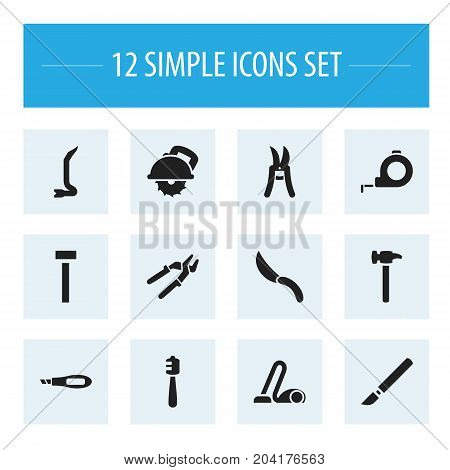 Set Of 12 Editable Apparatus Icons. Includes Symbols Such As Medical Instrument, Honey Stick, Build Fastener And More