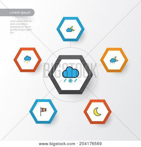 Climate Colorful Outline Icons Set. Collection Of Tornado, Thunderstroke, Moonbeam And Other Elements