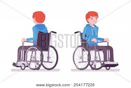 Disabled young man in wheelchair. Unable to have fun. Disability and social policy concept. Vector flat style cartoon illustration, isolated, white background. Front, rear view