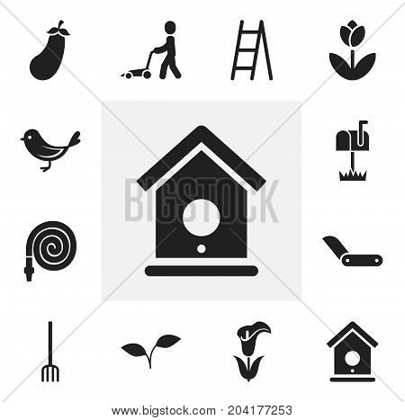 Set Of 12 Editable Agriculture Icons. Includes Symbols Such As Aubergine, Clasp Knife, Mailbox And More