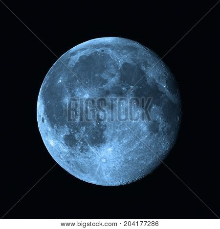 Full Moon photographed through a long focal telescope.