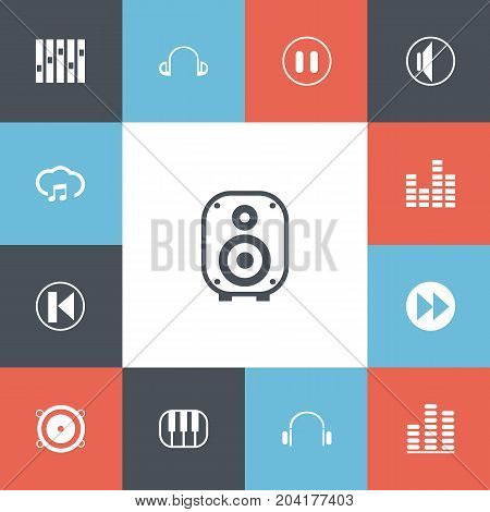 Set Of 13 Editable Melody Icons. Includes Symbols Such As Equalizer, Bass Speakers, Piano And More