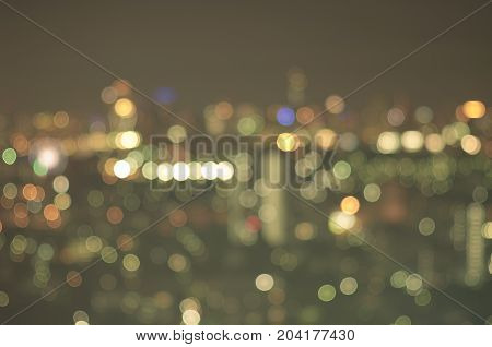 Blurred Photo bokeh of cityscape at night cityspace