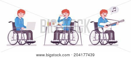 Disabled young man in wheelchair with laptop, eating, singing. Active life and fun. Disability and social policy concept. Vector flat style cartoon illustration, isolated, white background