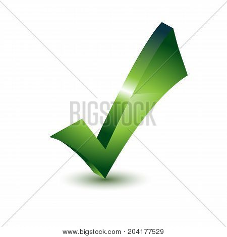 Green check mark 3D icon isolated on background. Vector stock.