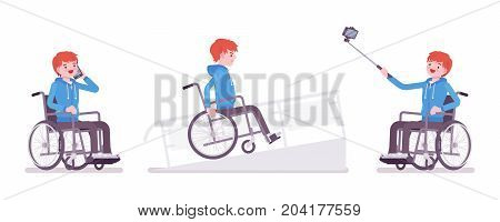 Disabled young man in wheelchair with phone, selfie camera, on ramp. Obstacles in the city. Disability and social policy concept. Vector flat style cartoon illustration, isolated, white background