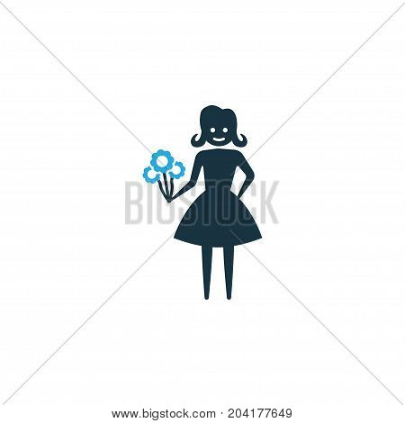 Premium Quality Isolated Flower Element In Trendy Style.  Woman Colorful Icon Symbol.