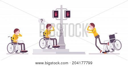 Disabled young woman in wheelchair in negative street emotions. Navigate the way around town problems. Physical disability, society. Vector flat style cartoon illustration, isolated, white background