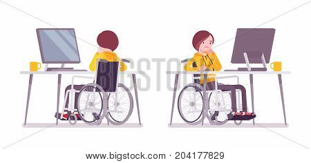 Disabled young woman in wheelchair working with computer. Online job and startup. Physical disability and society. Vector flat style cartoon illustration, isolated, white background. Front, rear view