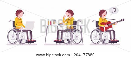 Disabled young woman in wheelchair with laptop, eating, singing. Daily activities and fun. Physical disability and society. Vector flat style cartoon illustration, isolated, white background