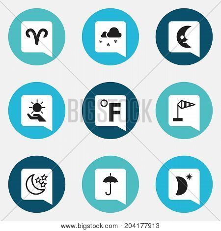Set Of 9 Editable Weather Icons. Includes Symbols Such As Gingham, Covered With Snow, Breeze Vane And More