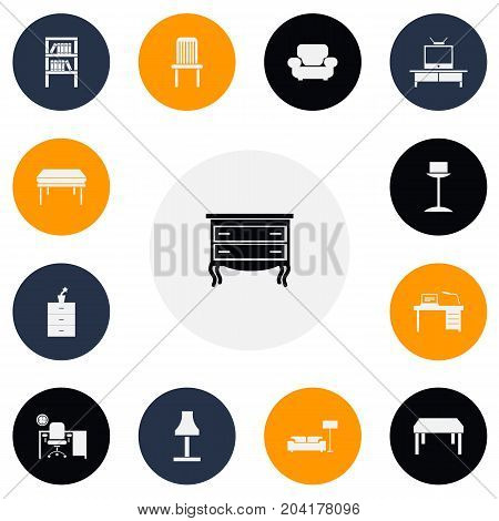 Set Of 13 Editable Furnishings Icons. Includes Symbols Such As Office, Interior, Trestle And More