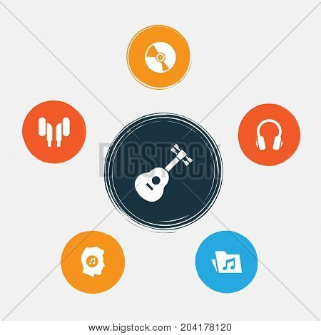 Multimedia Icons Set. Collection Of Earphone, Instrument, Dossier And Other Elements