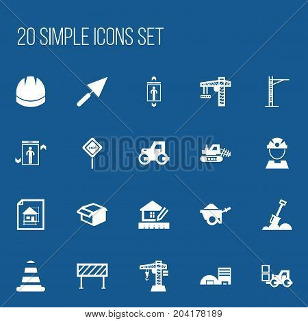 Set Of 20 Editable Building Icons. Includes Symbols Such As Caution, Tractor, Home Scheduling And More