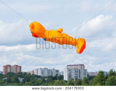 Kite Of The Shape Of Orange Bear