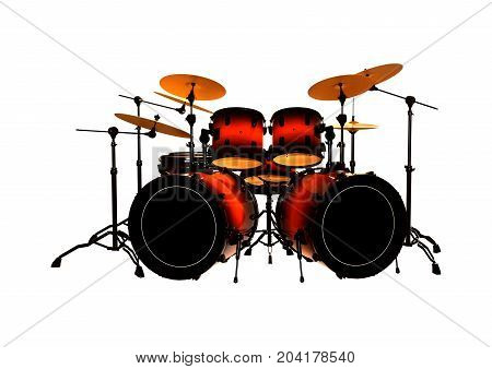 3D Rendering Drums Set On White