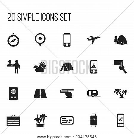 Set Of 20 Editable Holiday Icons. Includes Symbols Such As Compass, Vacation, Entrance And More
