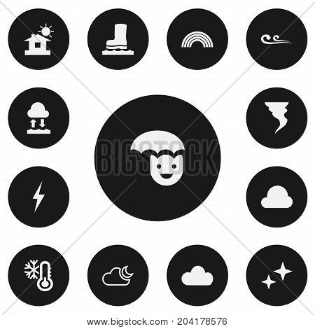 Set Of 13 Editable Weather Icons. Includes Symbols Such As Evaporation Condensation, Waterproof Shoes, Overcast And More