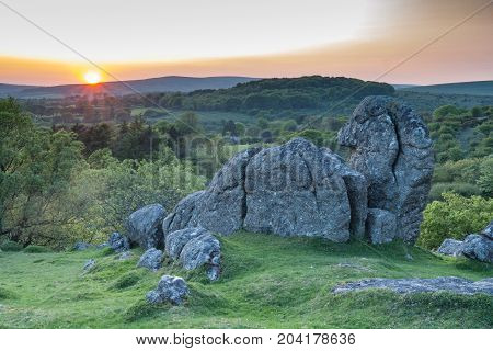 Lone granite tor on Harford moor on Dartmoor National Park, Devon, UK.