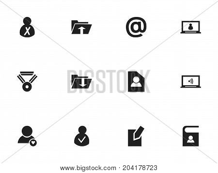 Set Of 12 Editable Network Icons. Includes Symbols Such As Telephone Directory, Monitor, Mail Symbol And More