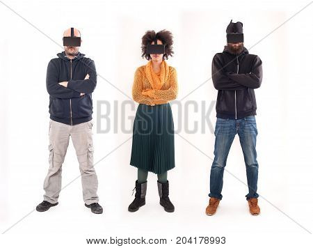 Group Of People Having Fun With Virtual Reality Glasses