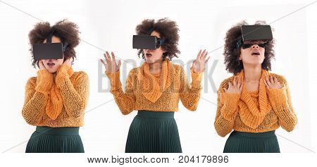 Montage With Young Woman Having Fun With Virtual Reality Glasses