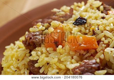 Traditional oriental mutton  pilaf., close up meal