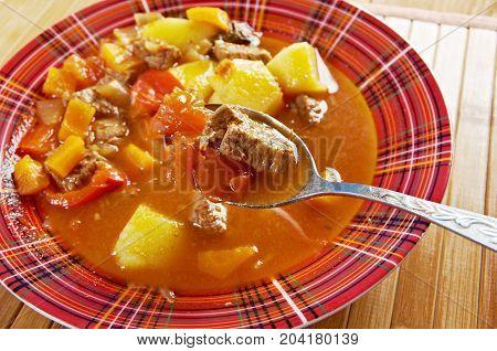 Traditional Bulgarian soup chorba.shurpa soup , close up meal