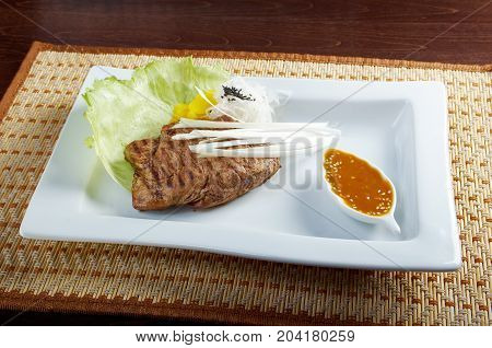 Grilled beef .Shallow depth-of-field.  , close up meal