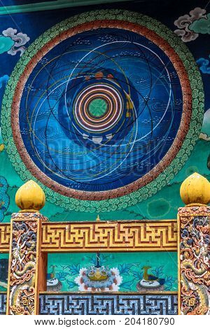 Punakha, Bhutan - September 10, 2016: Modern Religious Art On The Wall Inside Punakha Dzong, Bhutan