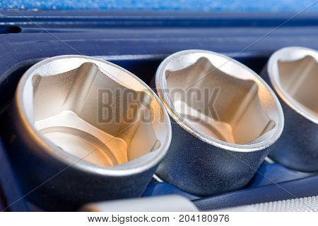 set of metallic tools background, close up instrument