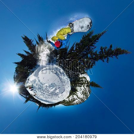 Snowboarder Freerider Jumping From Snow Ramp. Spherical 360 Panorama Little Planet