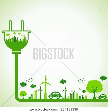 Save Nature Concept with Ecocity stock vector