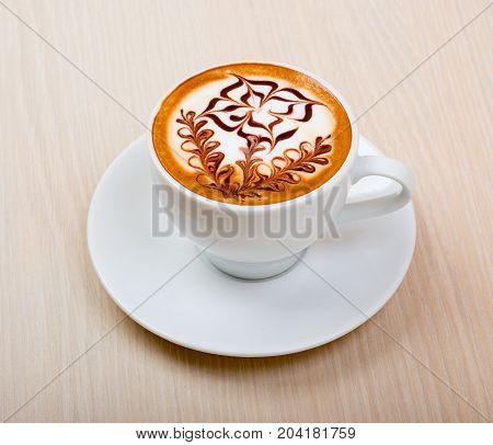 Chocolate cappuccino time.Cup of coffee close up traditional meal