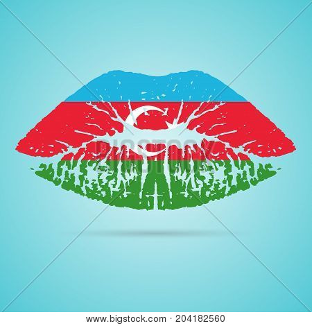 Azerbaijan Flag Lipstick On The Lips Isolated On A White Background. Vector Illustration. Kiss Mark In Official Colors And Proportions. Independence Day