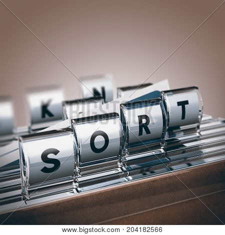 Close up of folders with one letter tabs forming the word sort. 3D illustration concept of paper documents sorting.