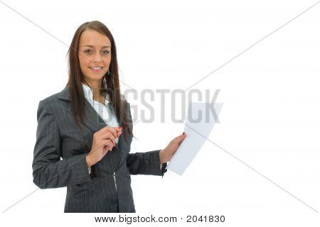 Business Woman Keeps Sheet