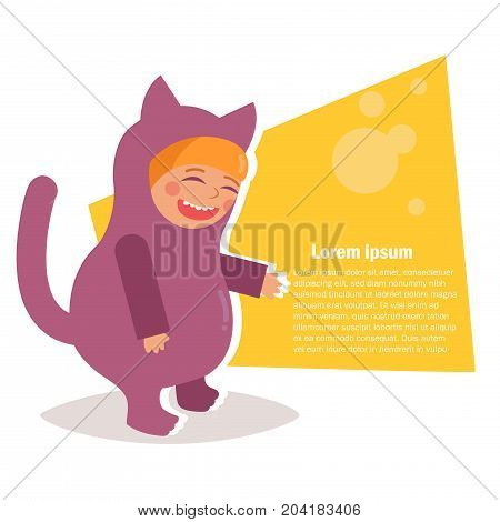 Child costume for Halloween. Vector. Cartoon. Isolated art on white background. Flat. Cat