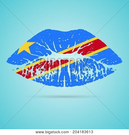 Democratic Republic Of The Congo Flag Lipstick On The Lips Isolated On A White Background. Vector Illustration. Kiss Mark In Official Colors And Proportions. Independence Day