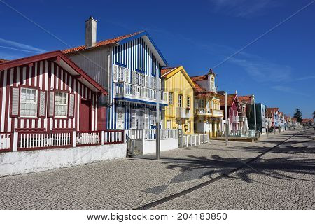 Costa Nova Portugal - June 10 2017: Famous resort on the Atlantic coast in Beira Litoral Portugal. Popular tourist destination to spend vacation time