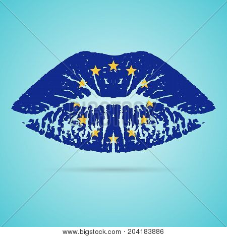 European Union Flag Lipstick On The Lips Isolated On A White Background. Vector Illustration. Kiss Mark In Official Colors And Proportions. Independence Day