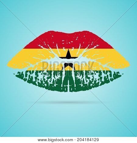 Ghana Flag Lipstick On The Lips Isolated On A White Background. Vector Illustration. Kiss Mark In Official Colors And Proportions. Independence Day