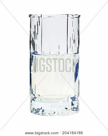 Low poly glass of vodka isolated on white background. 3d render