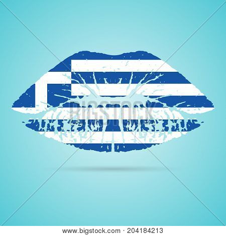 Greece Flag Lipstick On The Lips Isolated On A White Background. Vector Illustration. Kiss Mark In Official Colors And Proportions. Independence Day