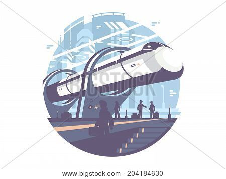 Hyperloop newest passenger public express transport train. Vector icon illustration