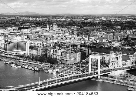 Budapest Hungary. Aerial view of Budapest Hungary with clouds. Liberty bridge and historical center of Budapest. Black and white